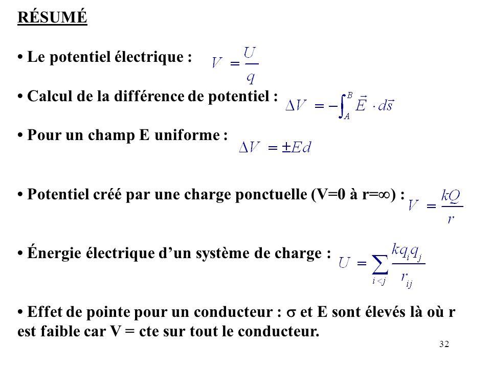 RÉSUMÉ • Le potentiel électrique : • Calcul de la différence de potentiel : • Pour un champ E uniforme :