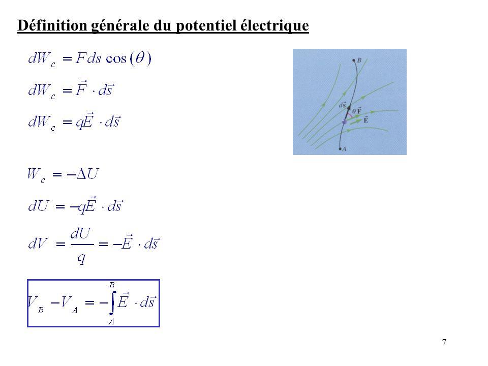 Définition générale du potentiel électrique