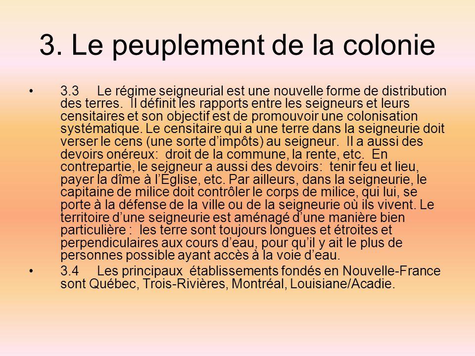 3. Le peuplement de la colonie