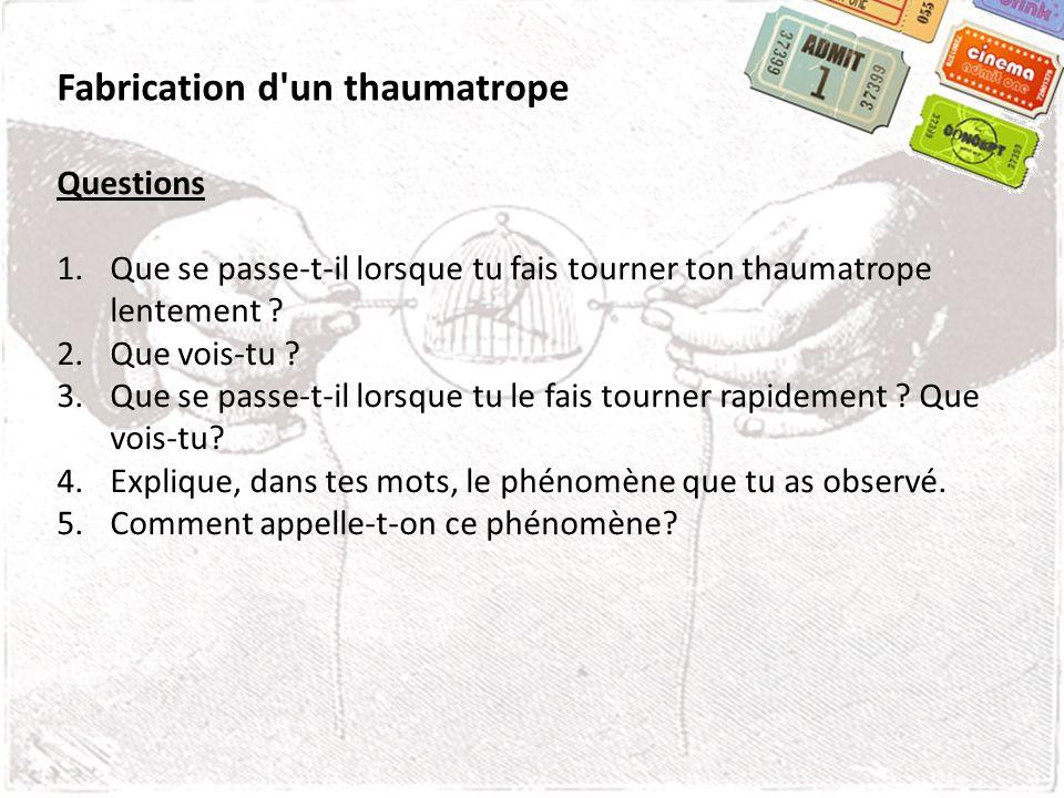Fabrication d un thaumatrope