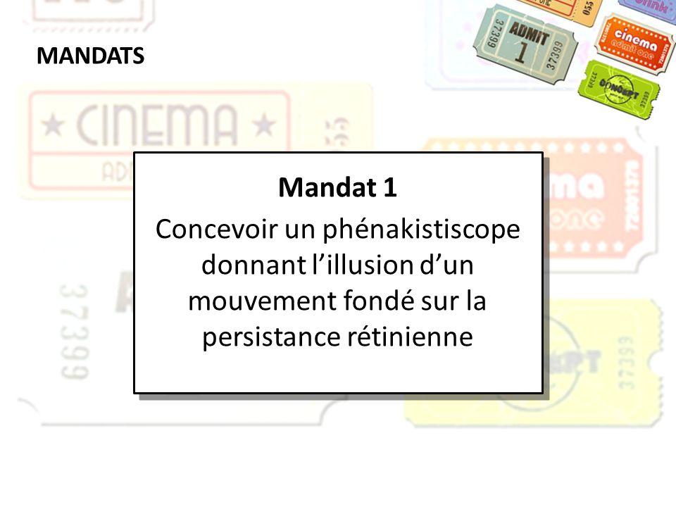 MANDATS Mandat 1. Concevoir un phénakistiscope donnant l'illusion d'un mouvement fondé sur la persistance rétinienne.