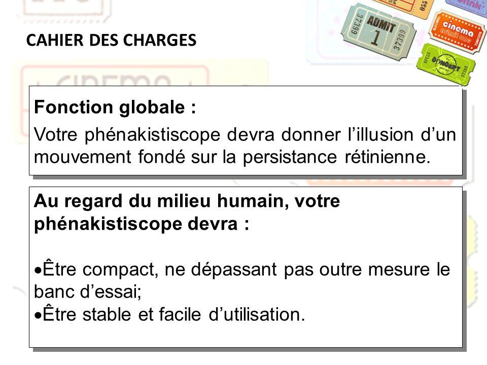 CAHIER DES CHARGES Fonction globale : Votre phénakistiscope devra donner l'illusion d'un mouvement fondé sur la persistance rétinienne.
