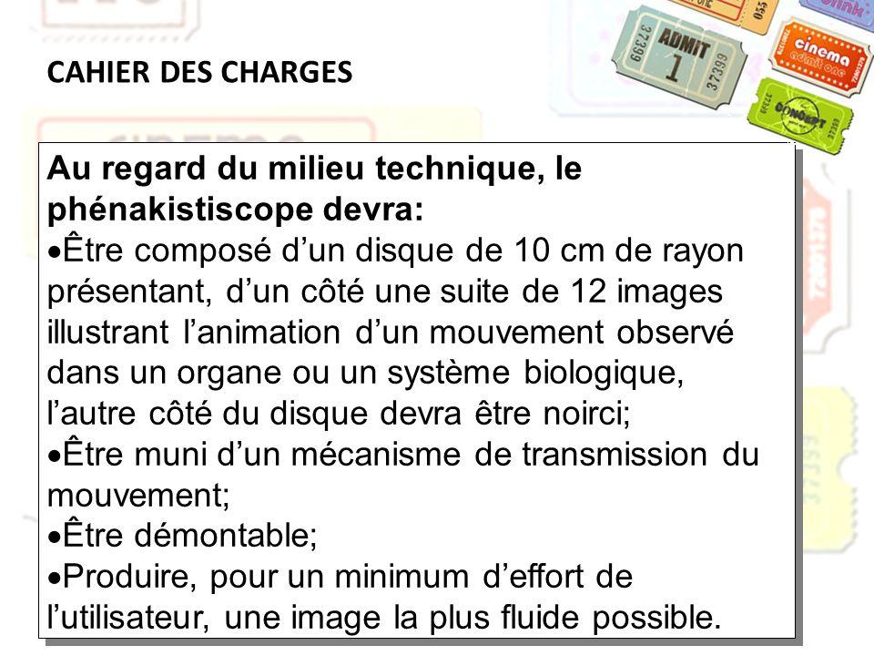 CAHIER DES CHARGES Au regard du milieu technique, le phénakistiscope devra: