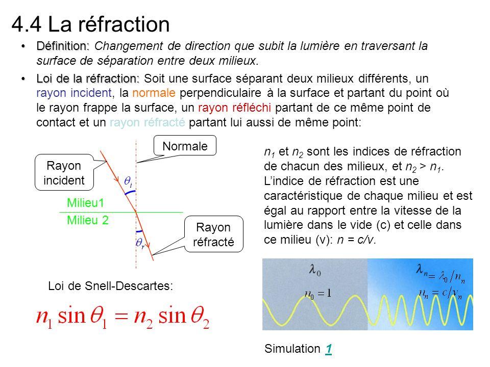 4.4 La réfraction Définition: Changement de direction que subit la lumière en traversant la surface de séparation entre deux milieux.