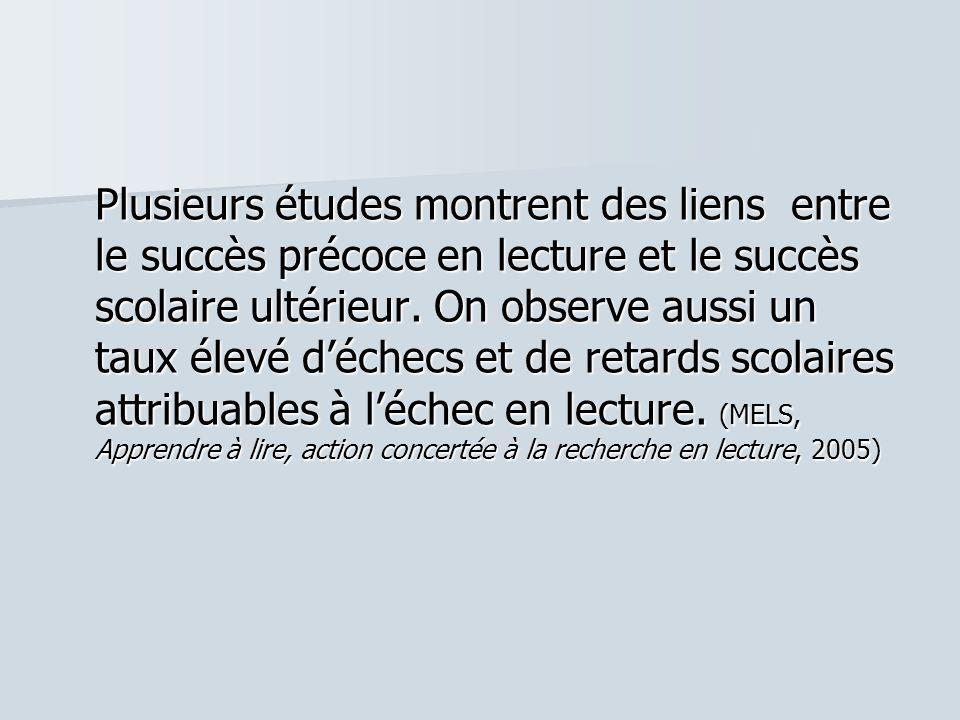 Plusieurs études montrent des liens entre le succès précoce en lecture et le succès scolaire ultérieur.