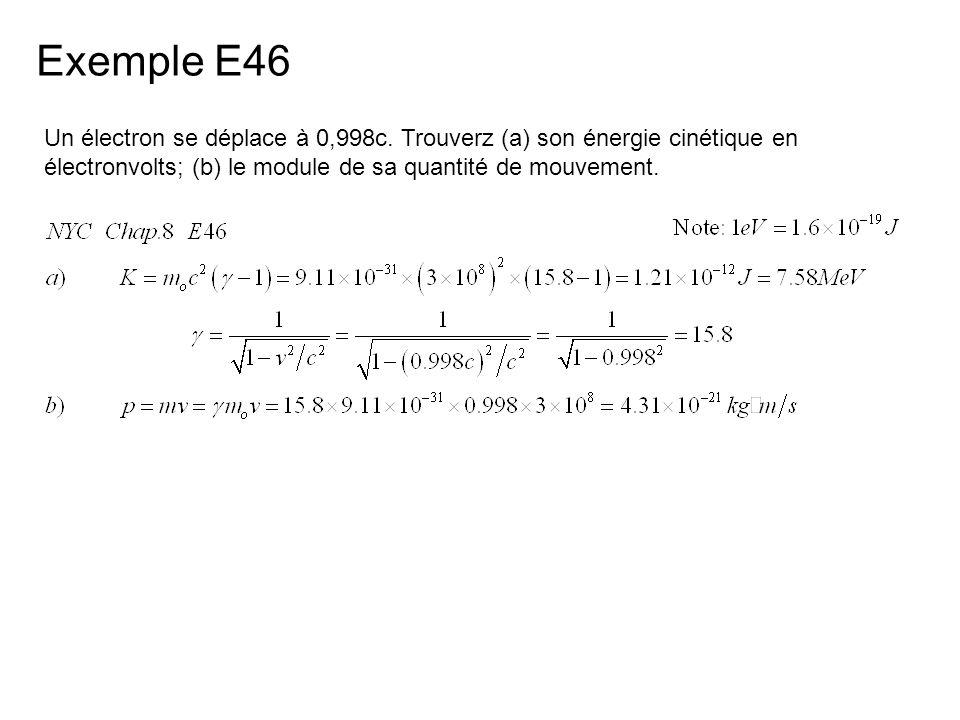 Exemple E46 Un électron se déplace à 0,998c.