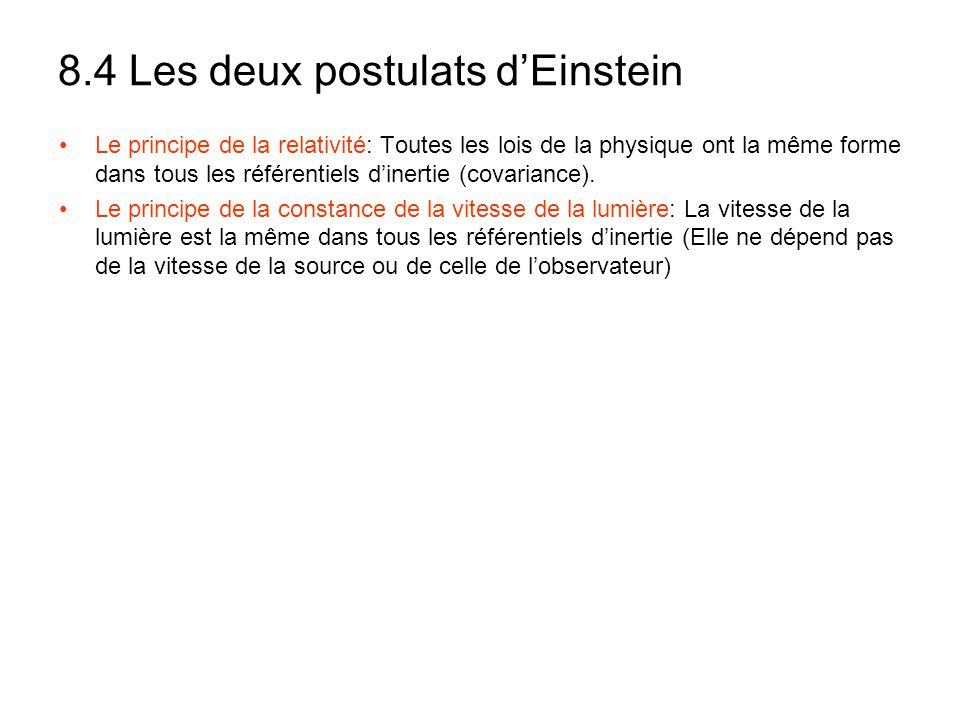 8.4 Les deux postulats d'Einstein