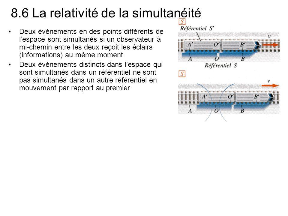 8.6 La relativité de la simultanéité