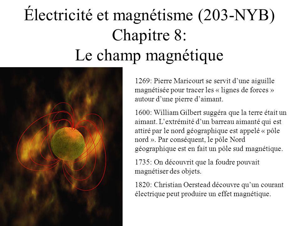 Électricité et magnétisme (203-NYB) Chapitre 8: Le champ magnétique