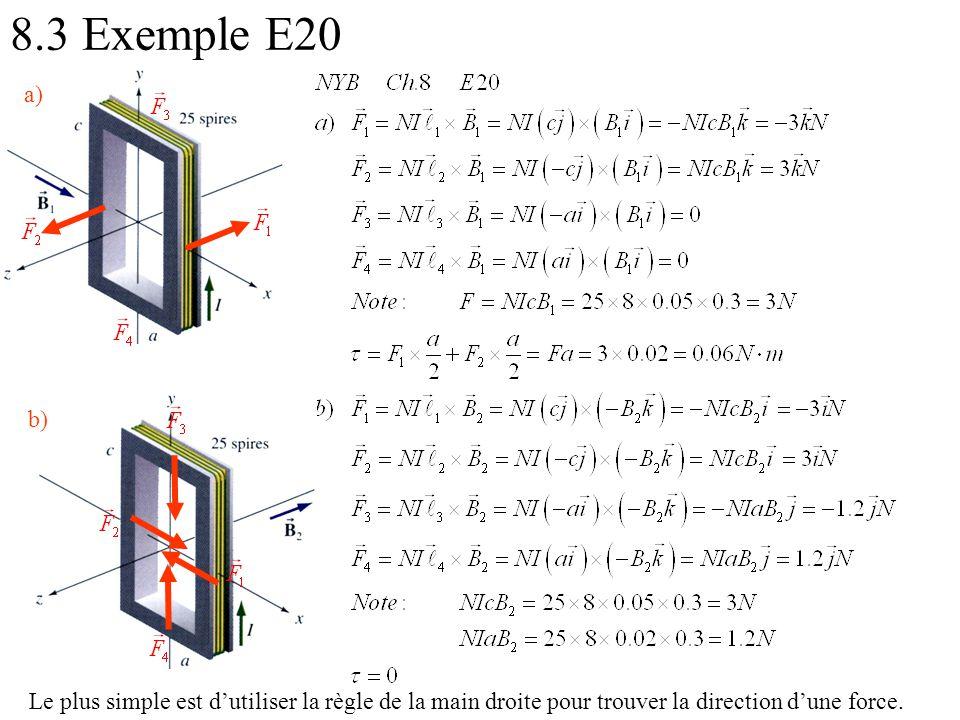 8.3 Exemple E20 a) b) Le plus simple est d'utiliser la règle de la main droite pour trouver la direction d'une force.