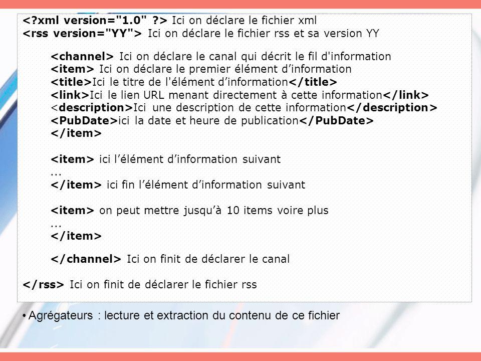 Agrégateurs : lecture et extraction du contenu de ce fichier