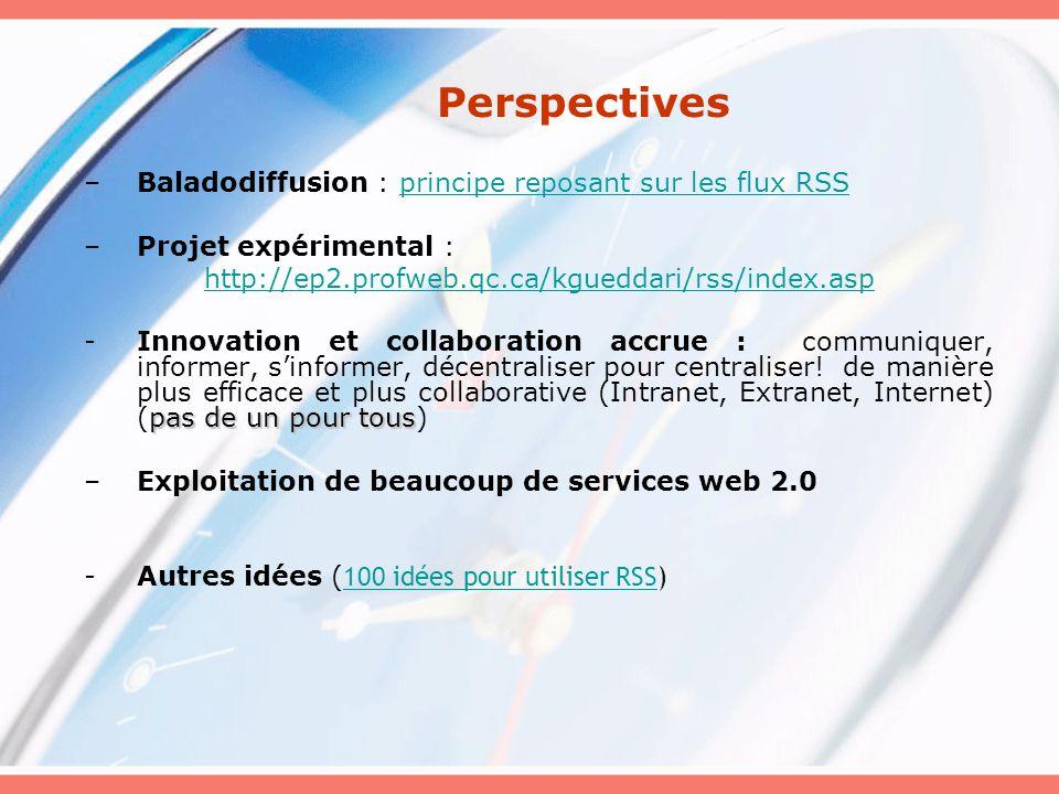 Perspectives Baladodiffusion : principe reposant sur les flux RSS