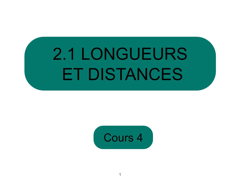 2.1 LONGUEURS ET DISTANCES Cours 4 1