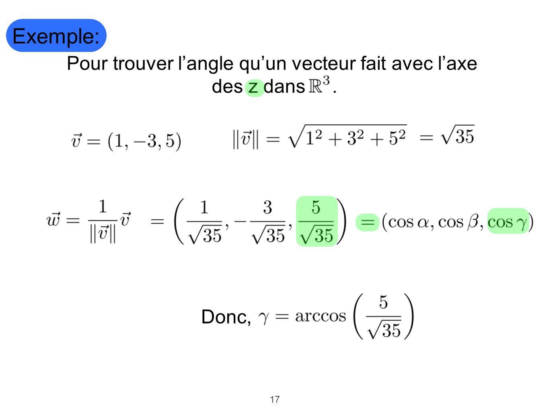 Pour trouver l'angle qu'un vecteur fait avec l'axe