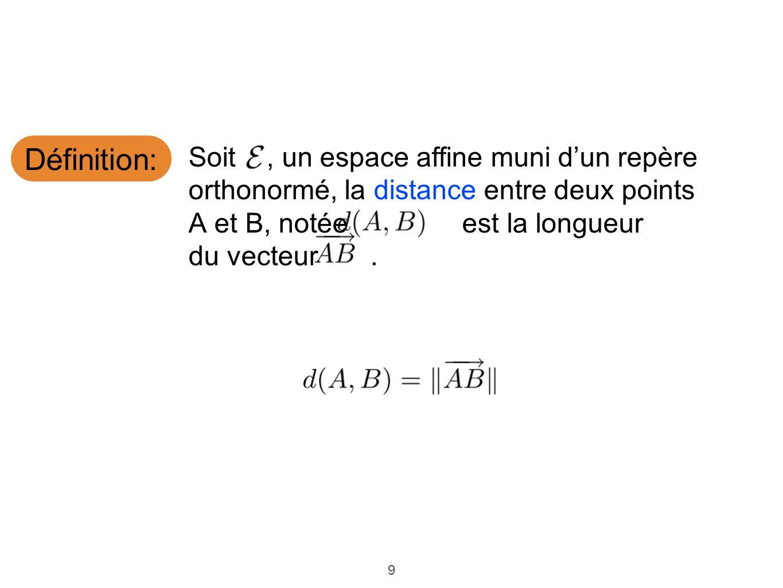 Définition: Soit , un espace affine muni d'un repère orthonormé, la distance entre deux points. A et B, notée est la longueur.