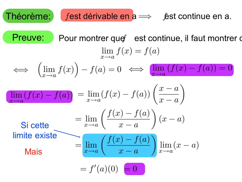 Théorème: Preuve: Mais est dérivable en a est continue en a.