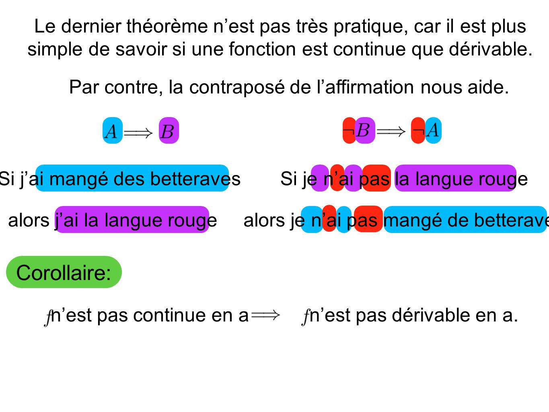 Le dernier théorème n'est pas très pratique, car il est plus simple de savoir si une fonction est continue que dérivable.