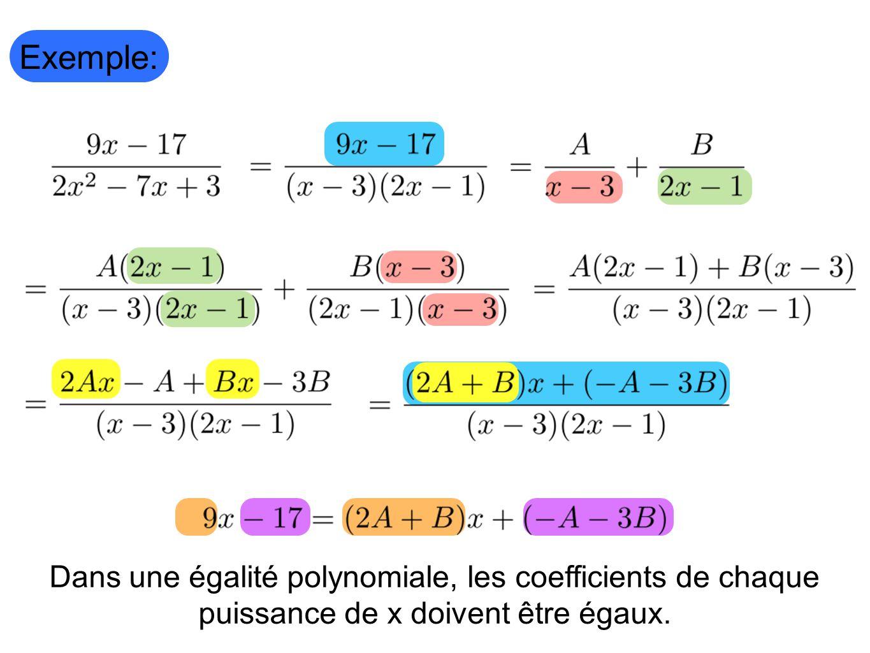 Exemple: Dans une égalité polynomiale, les coefficients de chaque puissance de x doivent être égaux.