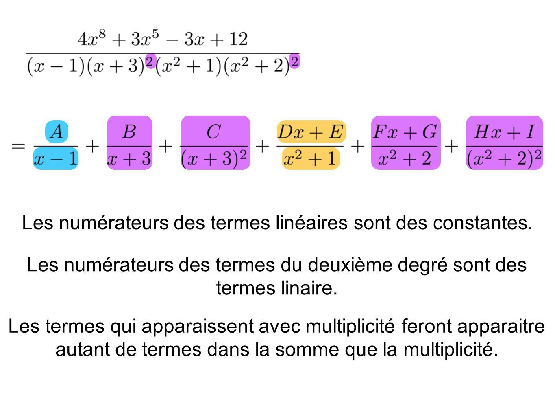 Les numérateurs des termes linéaires sont des constantes.