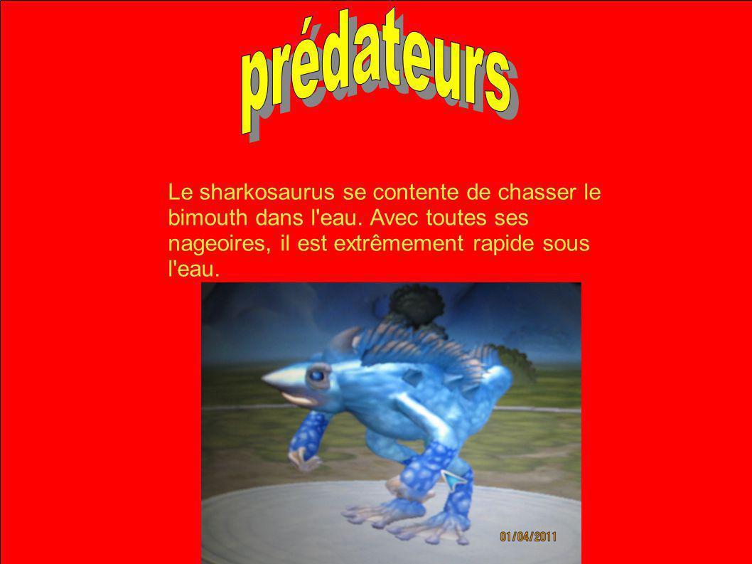 prédateurs Le sharkosaurus se contente de chasser le bimouth dans l eau.