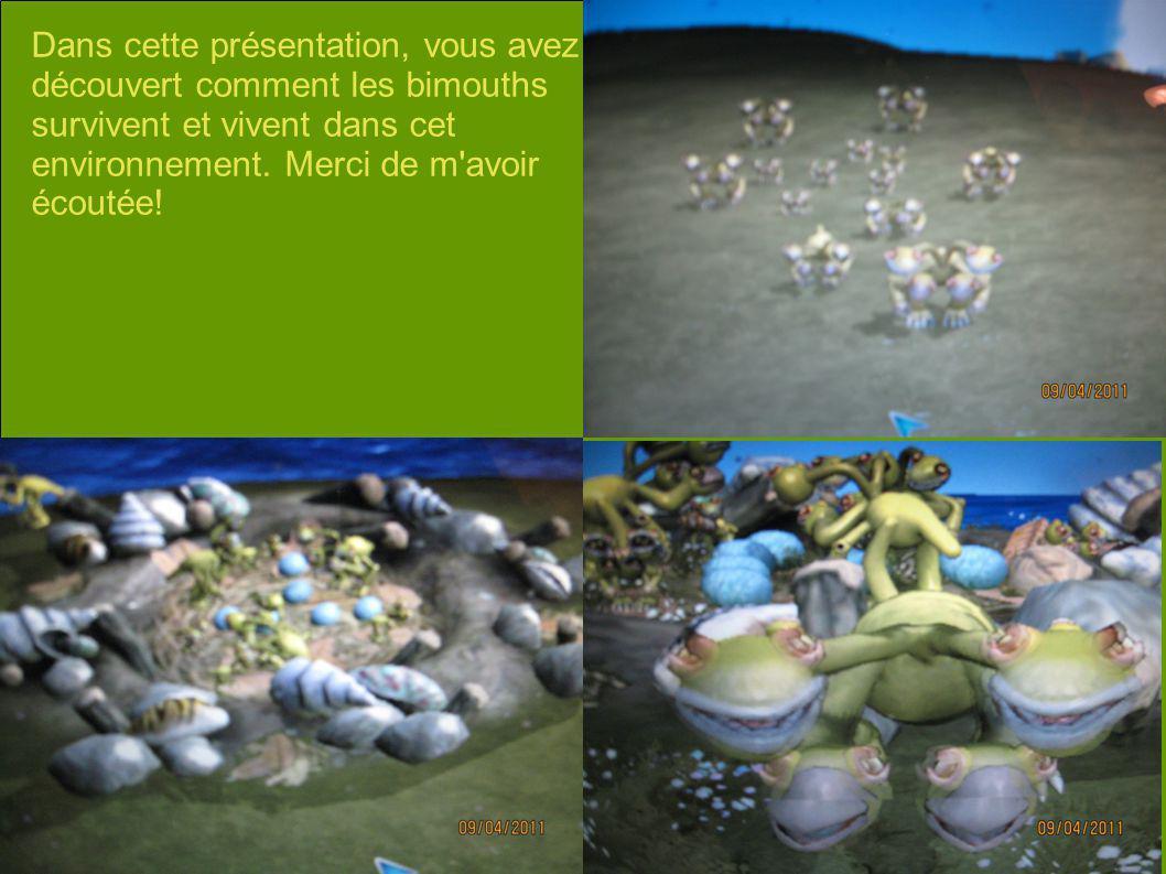 Dans cette présentation, vous avez découvert comment les bimouths survivent et vivent dans cet environnement.