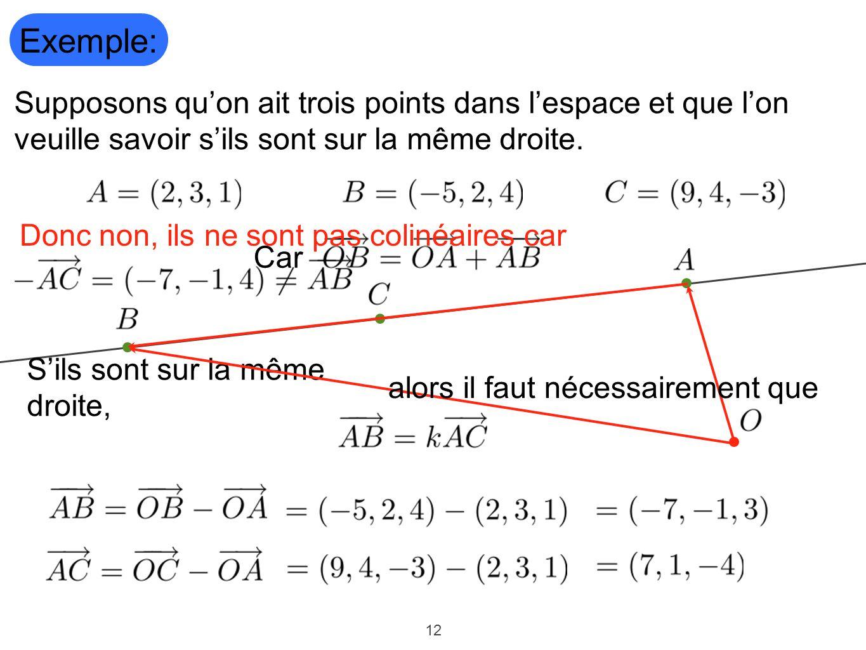 Exemple: Supposons qu'on ait trois points dans l'espace et que l'on veuille savoir s'ils sont sur la même droite.
