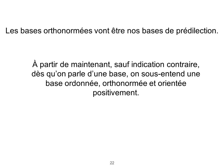 Les bases orthonormées vont être nos bases de prédilection.