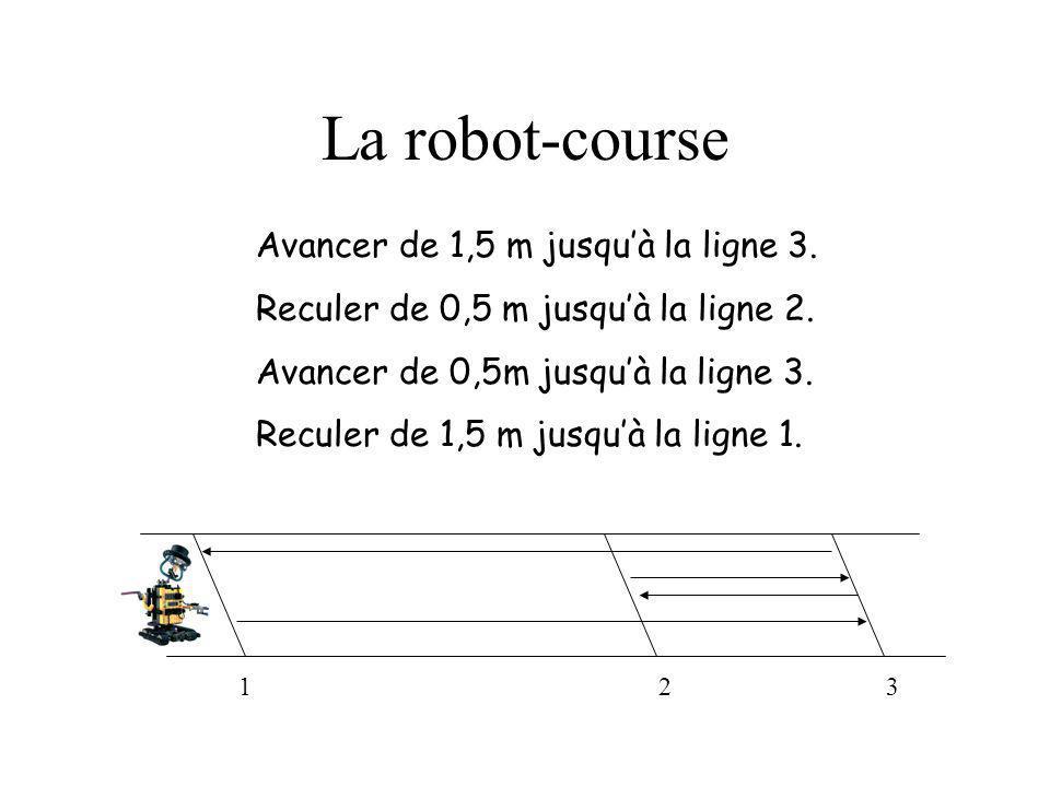 La robot-course Avancer de 1,5 m jusqu'à la ligne 3.