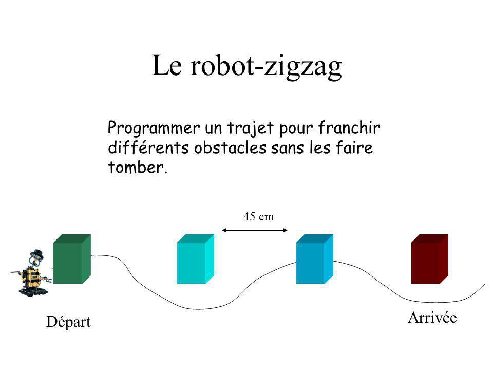 Le robot-zigzag Programmer un trajet pour franchir différents obstacles sans les faire tomber. 45 cm.