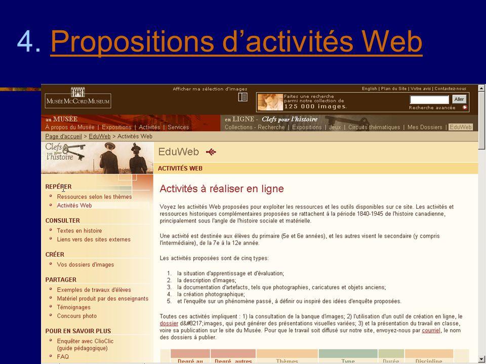 4. Propositions d'activités Web