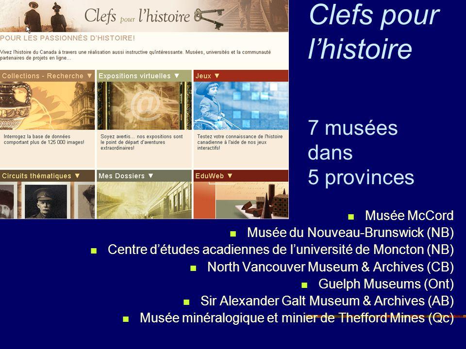 Clefs pour l'histoire 7 musées dans 5 provinces