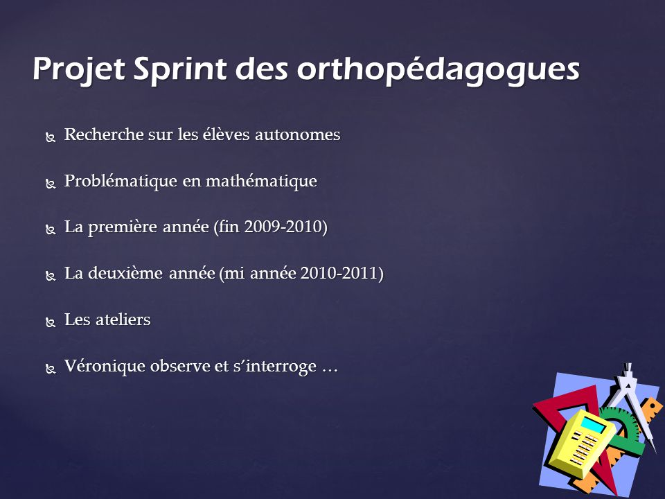 Projet Sprint des orthopédagogues