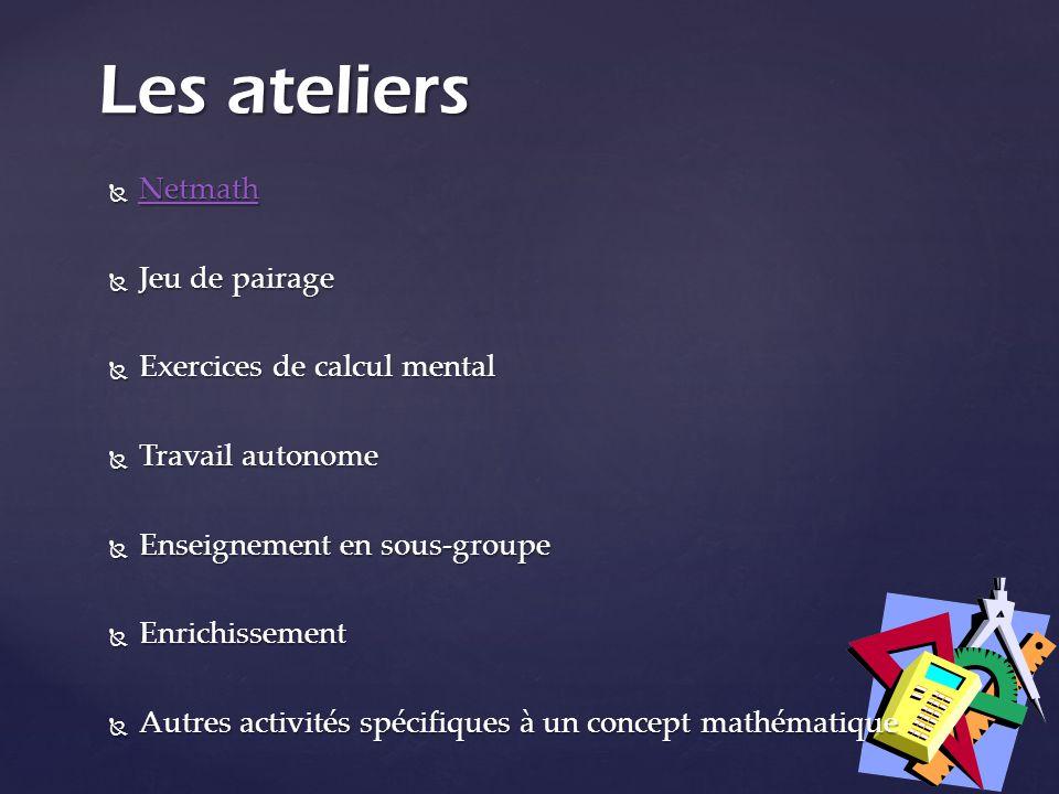 Les ateliers Netmath Jeu de pairage Exercices de calcul mental
