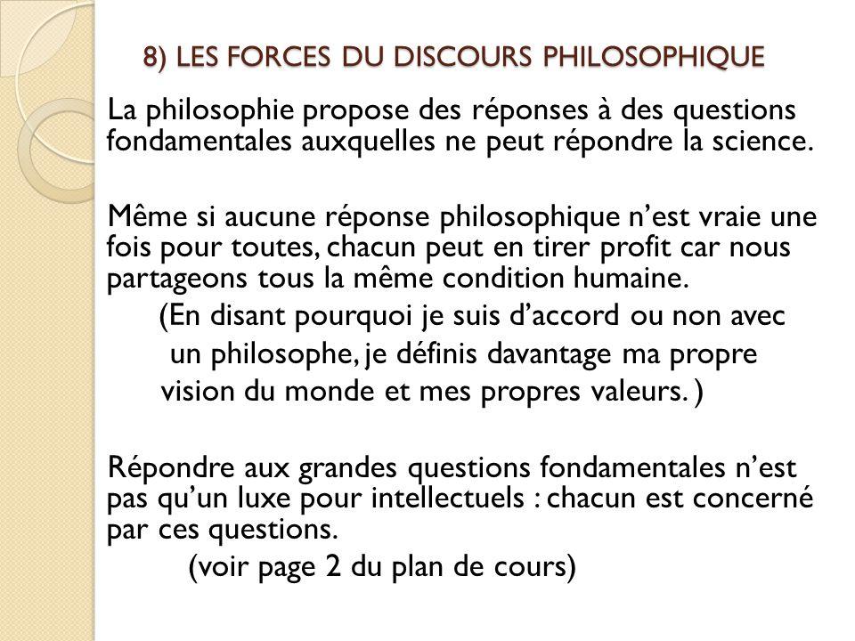 8) LES FORCES DU DISCOURS PHILOSOPHIQUE