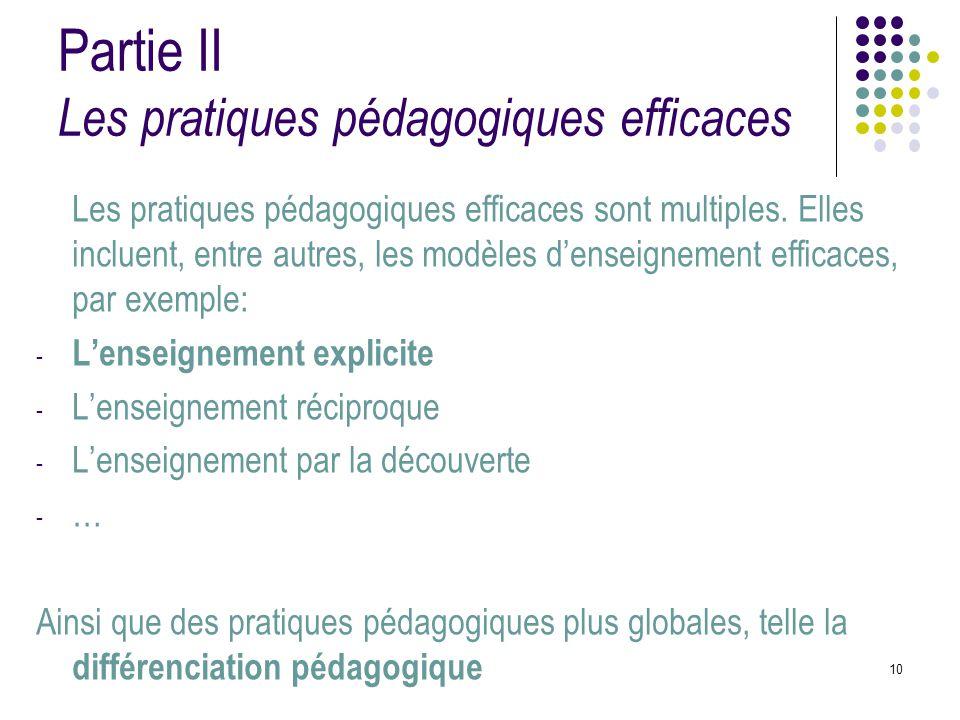 Partie II Les pratiques pédagogiques efficaces