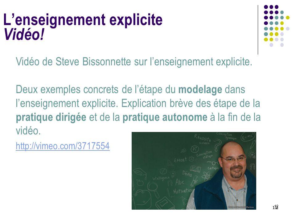 L'enseignement explicite Vidéo!