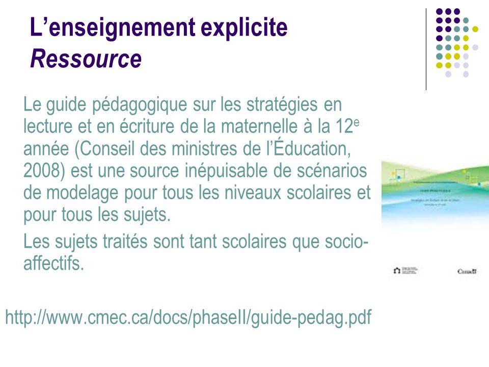 L'enseignement explicite Ressource