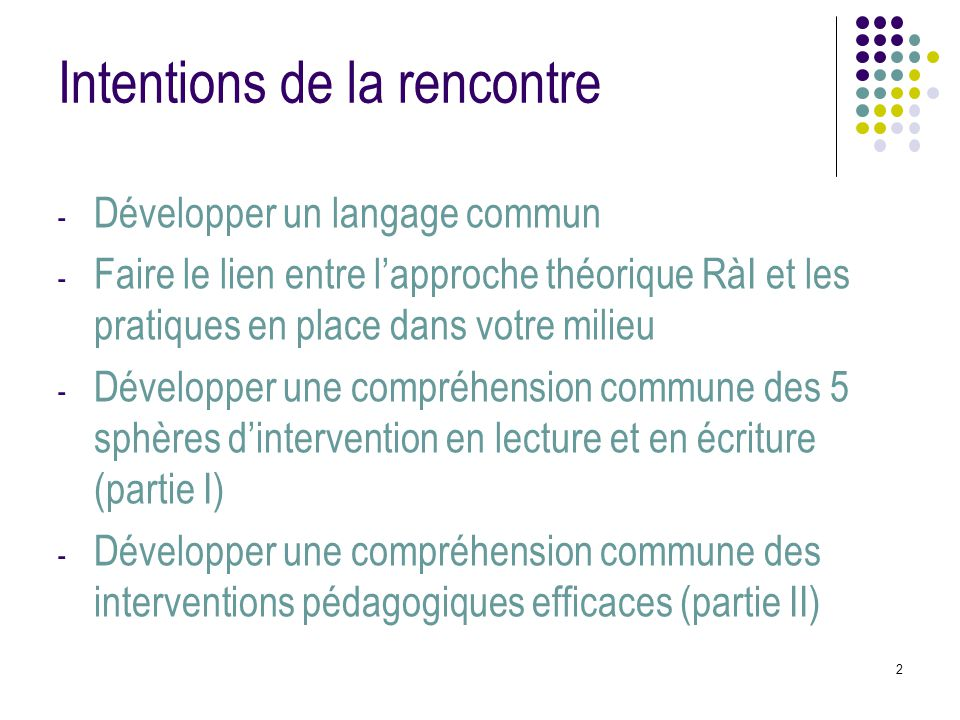 Intentions de la rencontre