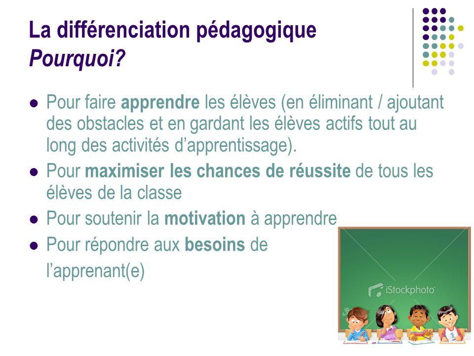 La différenciation pédagogique Pourquoi