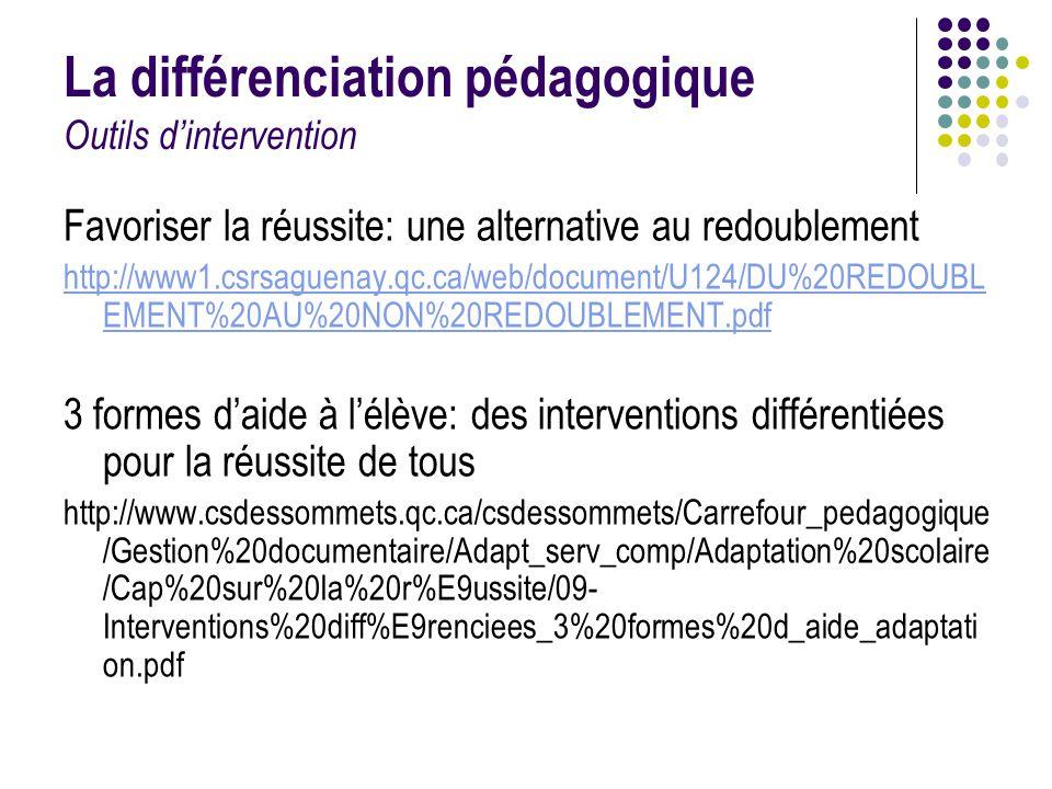 La différenciation pédagogique Outils d'intervention