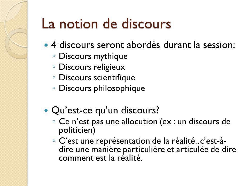 La notion de discours 4 discours seront abordés durant la session: