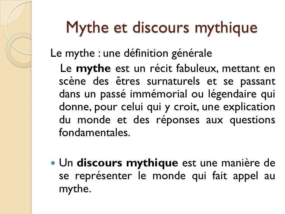 Mythe et discours mythique