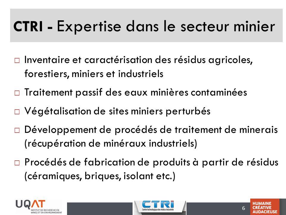 CTRI - Expertise dans le secteur minier