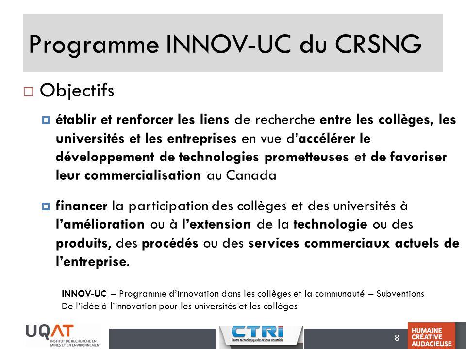 Programme INNOV-UC du CRSNG
