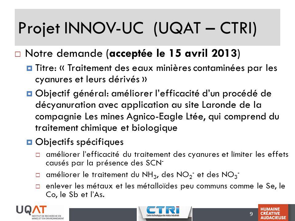Projet INNOV-UC (UQAT – CTRI)