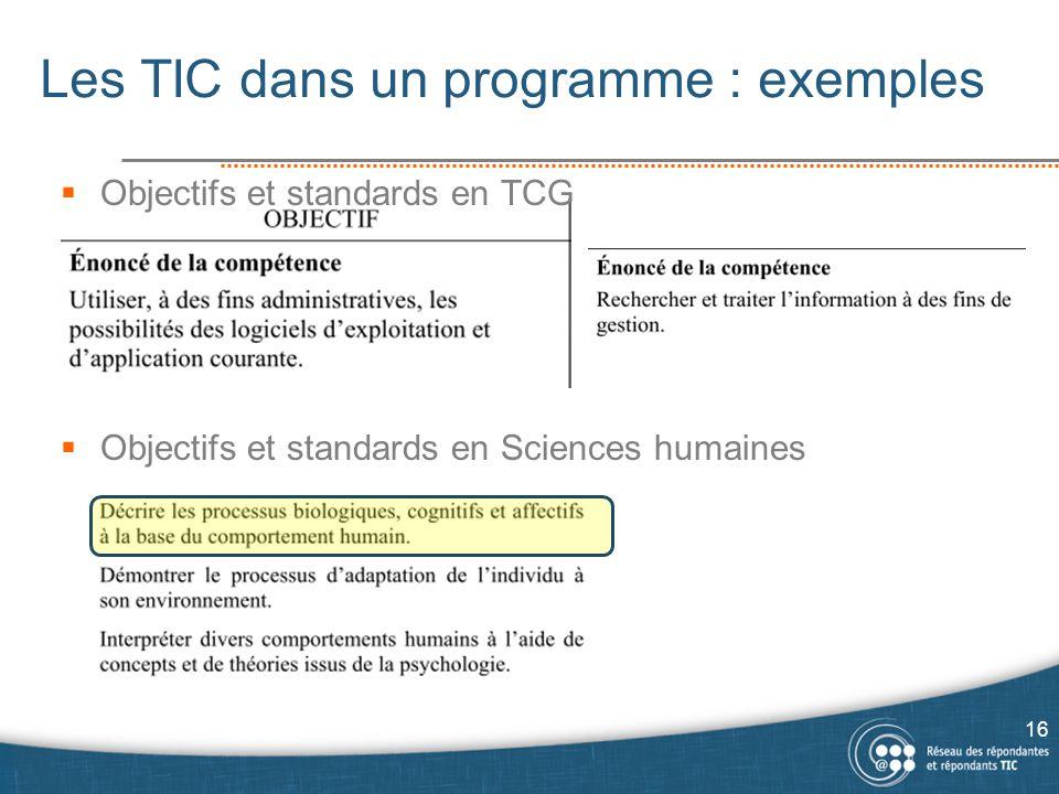 Les TIC dans un programme : exemples