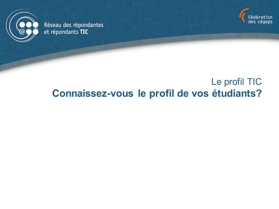 Le profil TIC Connaissez-vous le profil de vos étudiants
