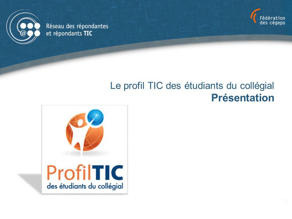Le profil TIC des étudiants du collégial Présentation