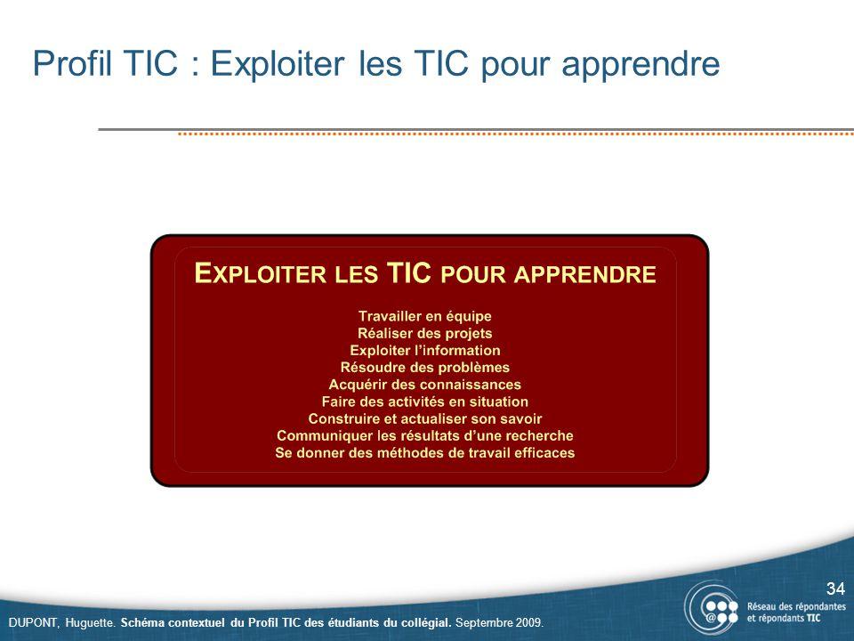 Profil TIC : Exploiter les TIC pour apprendre