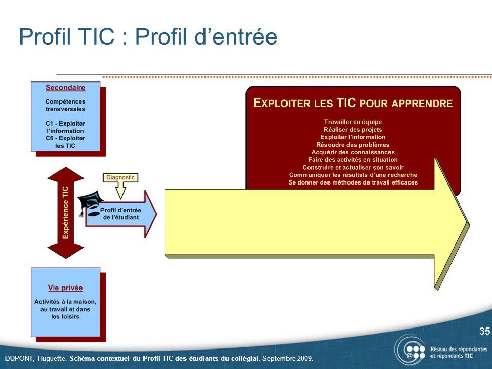Profil TIC : Profil d'entrée